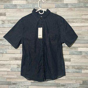 Goodfellow Button Up Shirt Size Medium Denim Short